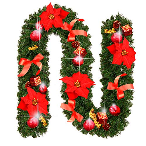 Christmas Garland Decorations 9 Feet by 10 Inch Fireplaces Stairs Garlands Xmas Non-Lit Soft Green Holiday Decor for Outdoor or Indoor Use - Home Garden Thanksgiving Wedding Party Decoration (Red)