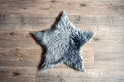 Machine Washable Faux Sheepskin Grey Star Rug 2' x 2' - Soft and silky - Perfect for baby's room, nursery, playroom (Star Small Grey)