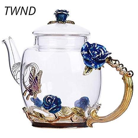 Tetera de cristal esmaltado, 300 ml, diseño de flores en 3D ...