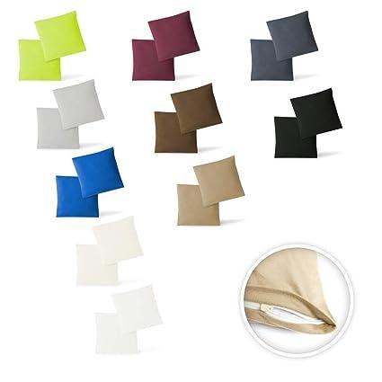 Funda de cojín, juego de 2 unidades, con cremalleras, 5 tamaños, de alta calidad, 100 % algodón, burdeos, 40 x 40 cm