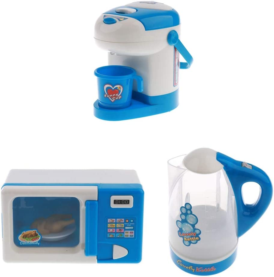 Flameer Simulation Home Appliances Housework Toys Set (Batteries Powered) Microwave Oven Water Dispenser Kettle