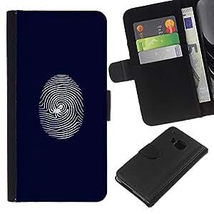 LECELL--Cuero de la tarjeta la carpeta del tirón Smartphone Slots Protección Holder For HTC One M7 -- Telaraña de huellas dactilares --