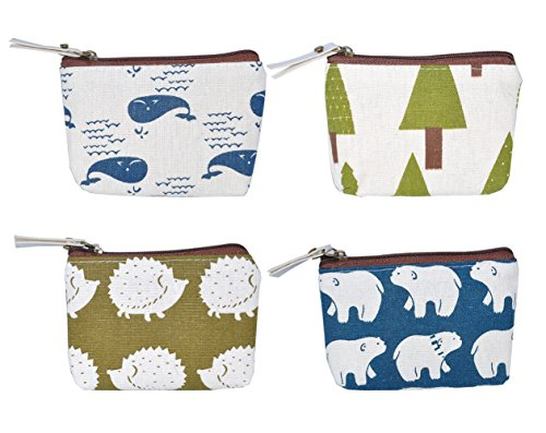 iSuperb Pack of 4 Canvas Coin Purse Change Cash Bag Forest and Animals Pattern Small Purse Wallets with Zipper 4.3x3.5 inch (Forest and (Handbag Compact Zipper Wallet)
