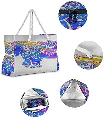 Portable Travel Bag Colorful Cute Retro Elephant Flower Beach Tote For Women Durable Beach Tote 20.5 X 7.3 X 15 Inch Zipper Closure With Cotton Handle For Picnics Travel Vacations