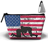 JF-X American Flag Of Wrestling Trapezoid Receive Bag Makeup Bag Home Office Travel Cases