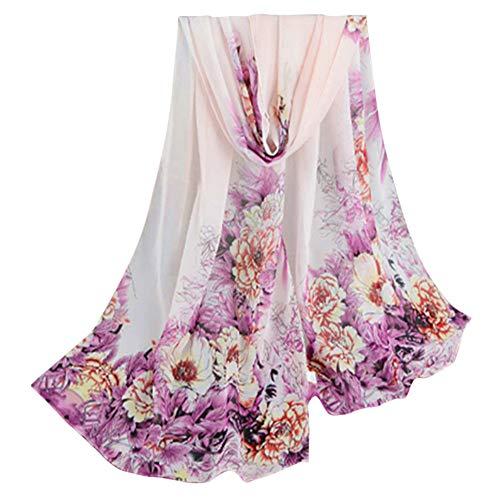 UONQD Fashion Lady Women Peony Prints Shawl Chiffon ()