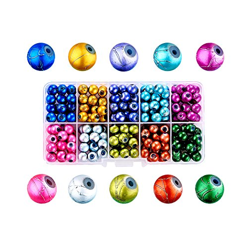 Beads Swirl Plastic - Craftdady 10 Colors Drawbench Baking Painted Glass Round Beads Set 8mm Assorted Colors Ball Beads with Container Box