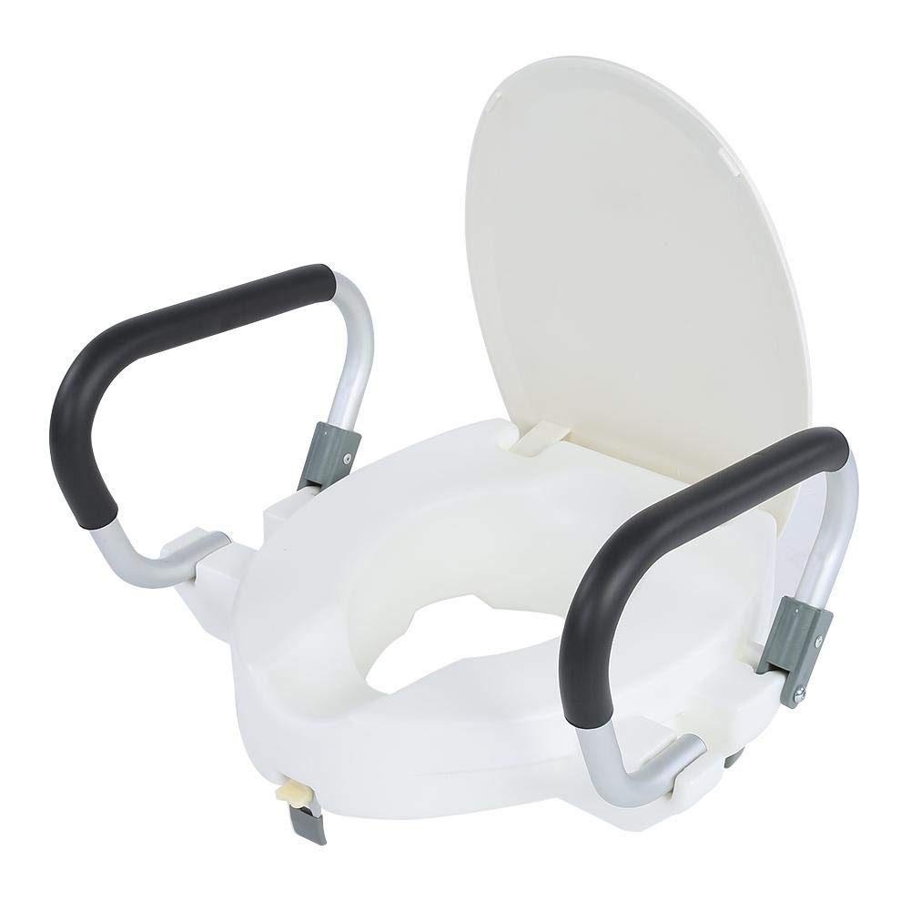 Cocoarm Medical Elevated Raised Toilet Seat with Lid Removable Padded Arms White by Cocoarm