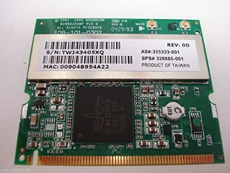 Amazon.com: Broadcom 54 G 802.11 b/g, Inalámbrico, Mini-PCI ...