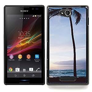 For Sony Xperia C Case , Árbol Sunrise Sunset cielo nocturno - Diseño Patrón Teléfono Caso Cubierta Case Bumper Duro Protección Case Cover Funda