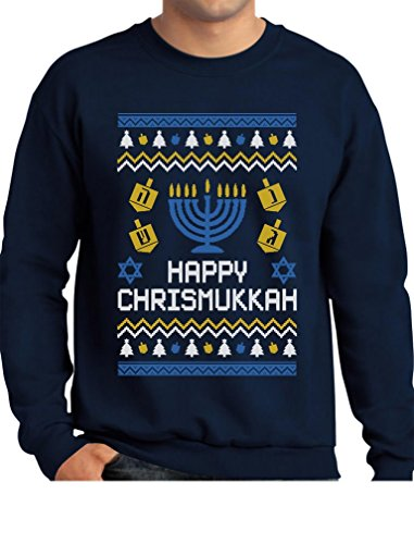 Tstars Happy Chrismukkah Xmas Hanukkah Ugly Christmas Sweatshirt Large Navy -