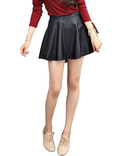 5b061ef45 Moollyfox Mujeres Faldas Negra Cortas De PU Cuero Plisada Minifalda ...