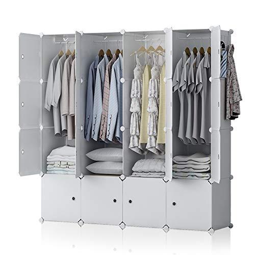 YOZO Modular Wardrobe Plastic Portable Closet Organization Dresser Customizable Cube Storage Organizer Bedroom Armoire Dresser, 16 Cubes, Depth 18 inches, White