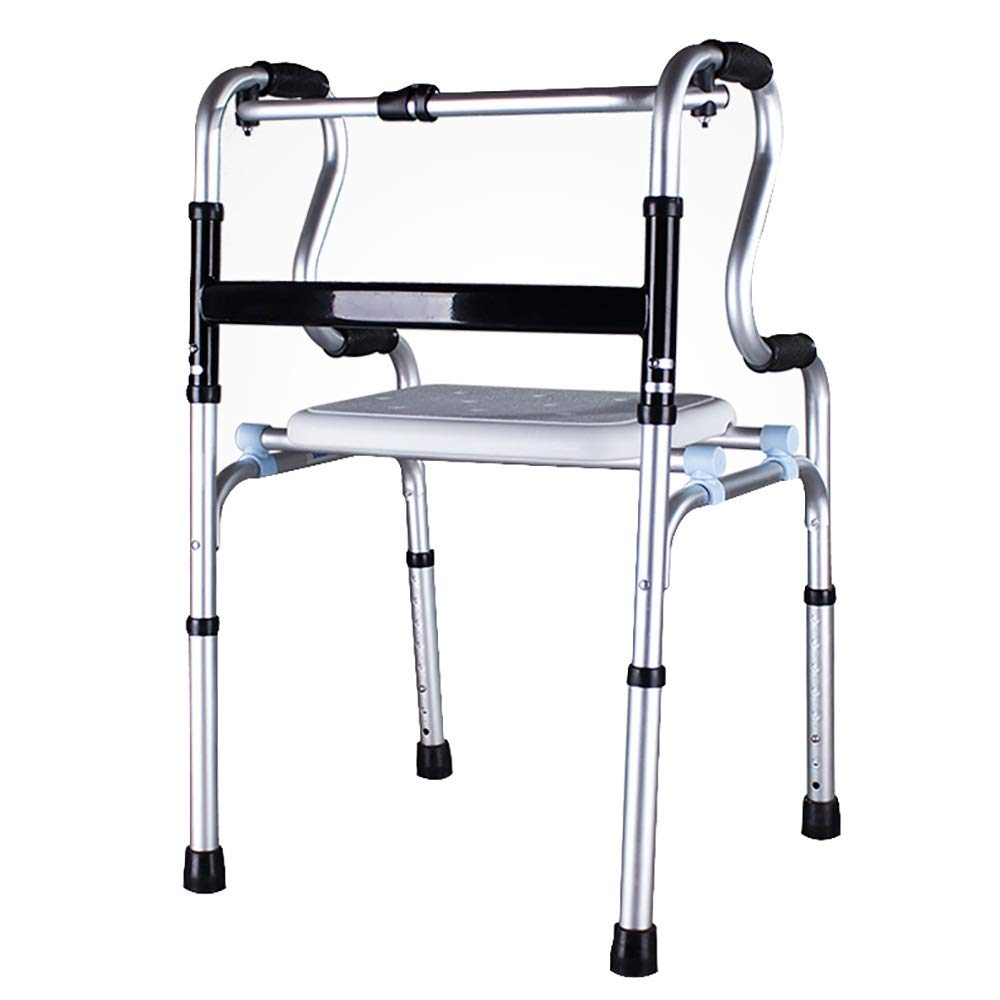 Aluminum Alloy, 8-Level Adjustable, with Bath Plate, one-Button Folding Elderly Walker, Silver (Size : 4 Legs Without Wheels)