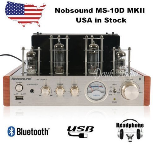 Nobsound MS-10D MKII Hybird Tube Amplifier with Bluetooth/USB/Headphone for Hifi by Nobsound