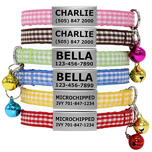 (Vcalabashor Custom Cat Collars with Jingle Bell/Stainless Steel No Noise Slide-On Tags On Collar/3 Lines Personalized Text (Plaid, 7-10