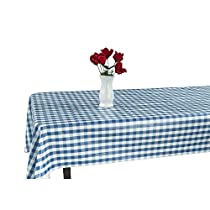 Berrnour Home Vinyl Tablecloth Blue Checkered Design Indoor/Outdoor Tablecloth with Non-Woven Backing -