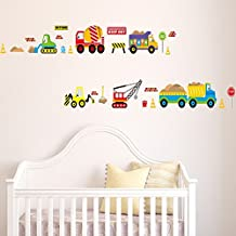 ufengke® Cartoon Cars Trucks Trains Vehicles Wall Decals, Children's Room Nursery Removable Wall Stickers Murals