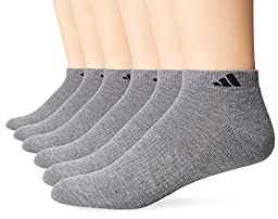 adidas Men\'s Athletic Low Cut Socks (6 Pack), Heather Grey/Black, One Size