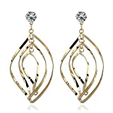 GERGER BO Fashionable Sterling Silver Multi-layer Marquise Loops Design Earrings