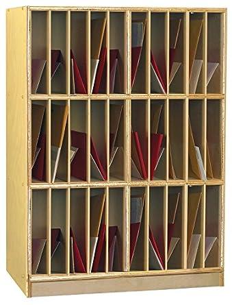 Childcraft 1439525 Cubby Portfolio Mailbox Storage Unit, Vertical, Wood,  35 3/