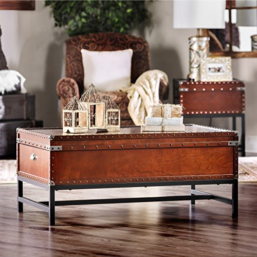 Furniture of America Cassone Coffee Table, Cherry