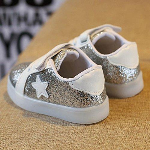 Igemy 1 Paar Baby Mode Star Sneaker LED leuchtende Kinder Kleinkind beiläufige bunte helle Schuhe Silber