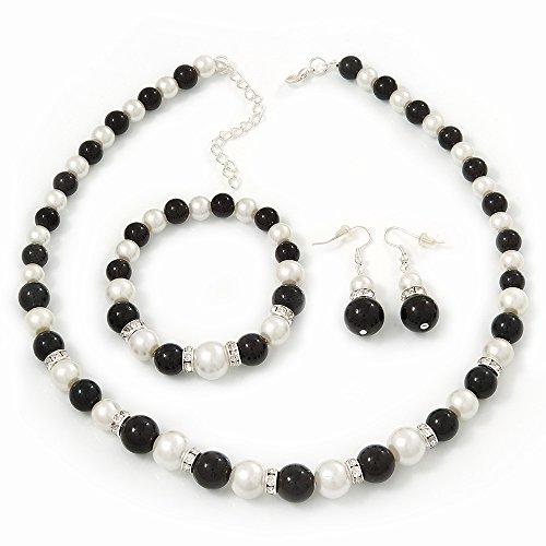 Black/ White Synthetic Pearl Bead Necklace, Flex Bracelet & Drop Earrings Set With Diamante Rings - 38cm Length/ 6cm Extension