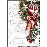 Jonny Javelin Son & Daughter-in-Law Christmas Card - Big Xmas Wreath 9 x 6.25 by Jonny Javelin