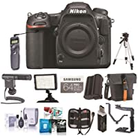 Nikon D500 DX-format DSLR Body - Bundle With 64GB SDXC Card, Holster Bag, Tripod, Spare Battery, Remote Shutter Trigger, Video Light, Shotgun Mic, Cleaning Kit, Card Reader, Software Package, More