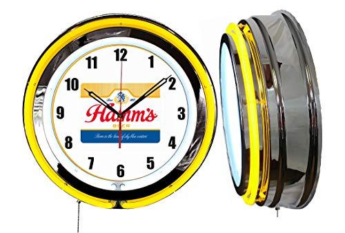 "Checkingtime LLC 19"" Hamms Beer Clock, Yellow Outside Tube, Two Neon Tubes"