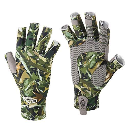 Palmyth UV Protection Fishing Fingerless Gloves UPF50+ Sun Gloves Men Women for Kayaking, Hiking, Paddling, Driving, Canoeing, Rowing (Woodland Camo, Large)