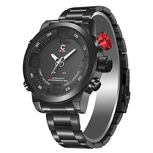 Dayangiii Sports Watch, LED Dual Display 30M Waterproof Watch, Multi-Function with Alarm Stopwatch Chronograph for Men, Women and Teenagers,Black (Gmt Watch Date)