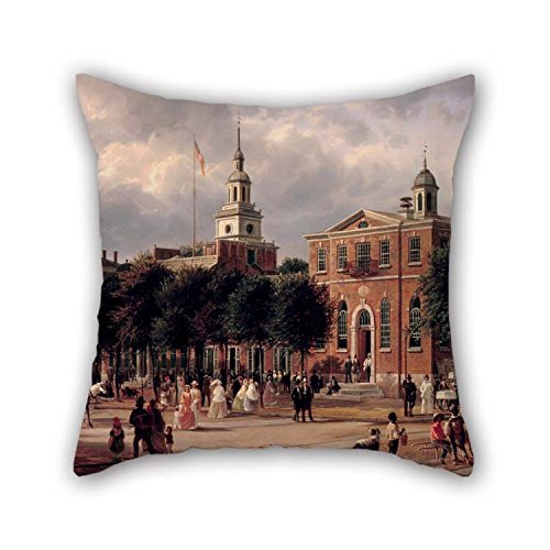 beeyoo Pillowcover of Oil Painting Ferdinand Richardt - Independence Hall in Philadelphia for Chair Teens Boys Boys Club Outdoor Teens Boys 20 X 20 inches / 50 by 50 cm(Twin Sides) ()