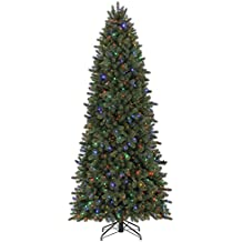 Evergreen Classics Vermont Spruce 9 ft Color Changing Pre-Lit Artificial Christmas Tree w/750 LED Lights & Folding Metal Stand