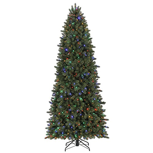 Evergreen Classics Vermont Spruce 9 ft Color Changing Pre-Lit Artificial Christmas Tree w/750 LED Lights & Folding Metal (Lit White Spruce Christmas Tree)
