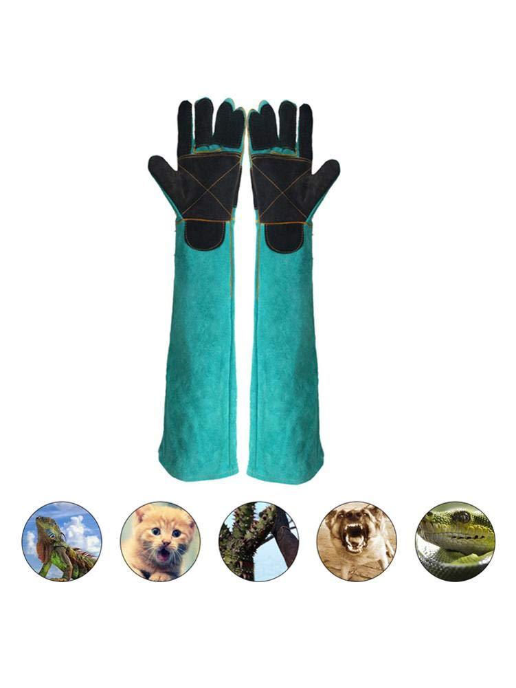 S-tubit Anti Dog Bite Gloves Animal Handling Gloves Pet Bite-resistant Gloves Safe Durable Leather Animal Bite Protection Gloves for Bathing Grooming Handling Dog Cat Bird Snake Reptile parsimonious