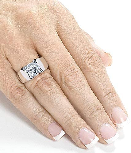Kobelli Round F-G Moissanite Extra Wide Solitaire Engagement Ring 3 Carat 14k White Gold