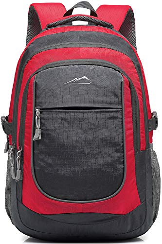 Backpack Bookbag for School College Student Sturdy Travel Business Hiking Fit Laptop Up to 15.6 Inch Multi Compartment Night Light Reflective (Red)