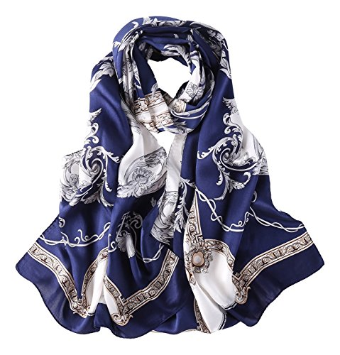 - Long Charmeuse Silk Scarf Floral and Graphic Print (Navy Classic)