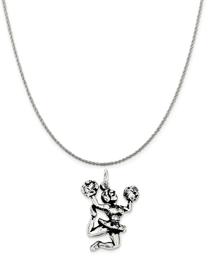 Mireval Sterling Silver Antiqued Cheerleader Charm on a Sterling Silver Chain Necklace 16-20