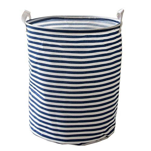Pauwer Large Storage Bin 13.7x15.7 Fabric Toy Box/Toy Storage/Toy Organizer for Boys and Girls - Kids Laundry Basket/Nursery Hamper (Blue Strip)