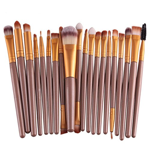 Price comparison product image Gotd 20PCs Colorful Cosmetic Eyebrow Eyeshadow Brush Makeup Brush Sets Kits Tools (Gold)
