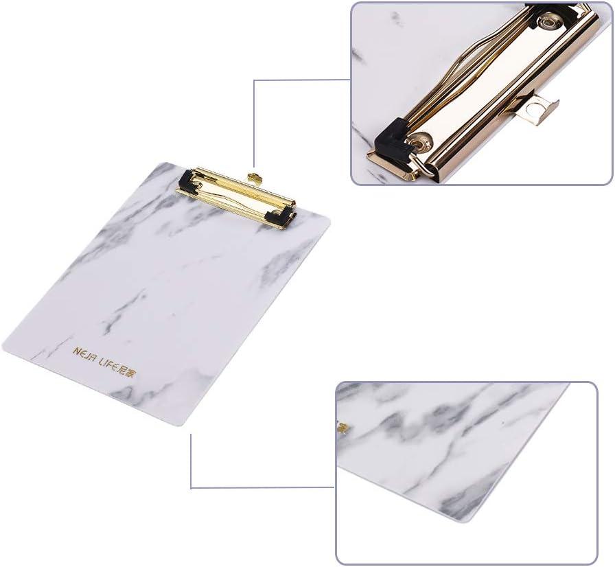 Papier mit Metallklammern vertikale Klemmbretter Kinder Schreibblock f/ür Krankenschwestern A4 A5 Size Marmor-Muster Aibecy Klemmbrett aus Kunststoff