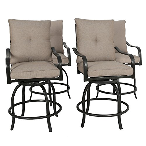 Ulax furniture Outdoor 4-Piece Counter Height Swivel Bar Stools High Patio Dining Chair Set (Sets Height Counter Outdoor)