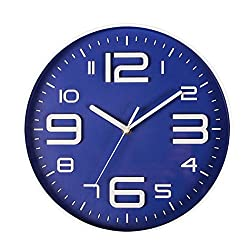 Big 3D Number 12 IN Wall Clock Quiet Sweep Movement Decorative Wall Clocks for Living Room Blue by SonYo