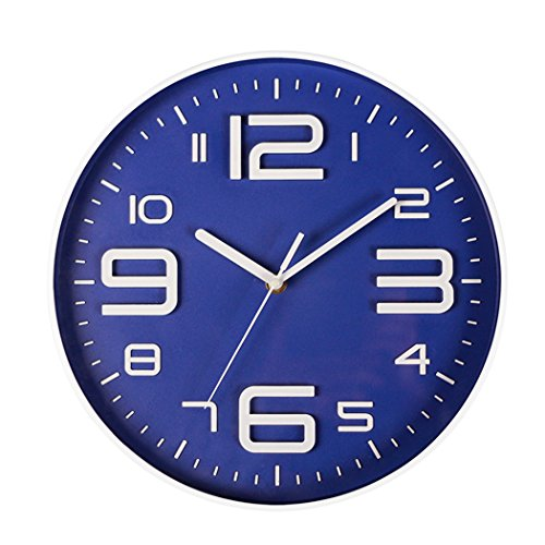 SonYo Indoor Big 3D Number Quartz Silent Non Ticking Wall Clock Quiet Sweep Movement Decorative Battery Operated 10 Inch Blue