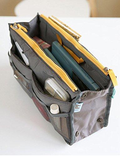 All-match Portable Multi-function Handbag Pouch Bag in Bag Organiser Insert Organizer Tidy Travel Cosmetic Pocket (Gray)