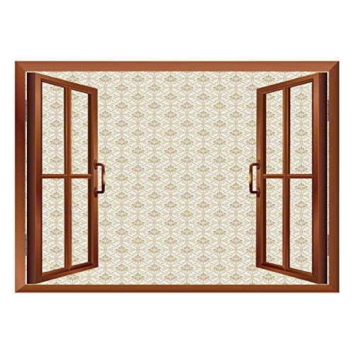 (SCOCICI Window Mural Wall Sticker/Damask,Flower Pattern Inside Ornamental Squares Lines Swirls and Other Geometrical Shapes Decorative,Ivory Cocoa/Wall Sticker Mural)