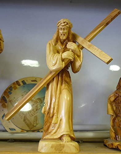 Unique Jesus Carying Cross Religious Olive Wood Statue Handmade Figurine 16.5'' by Holy Land Gifts